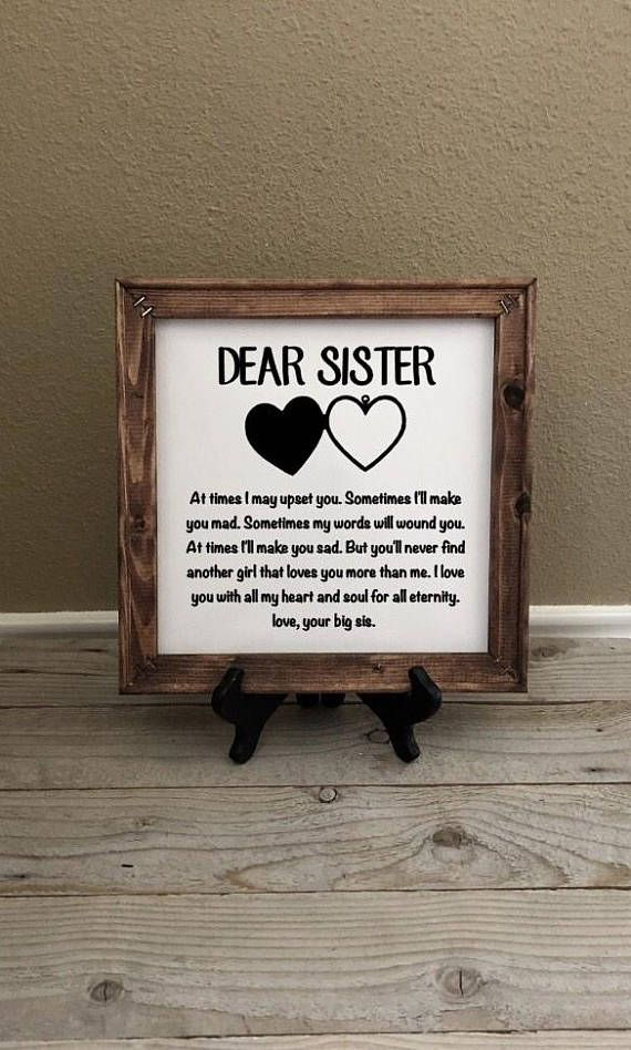 Reverse Canvas Gift For Sister Birthday Gifts Wedding Christmas Little