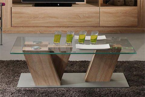 Sciae Season Modern Beech Wood Effect Coffee Table With Gl Top