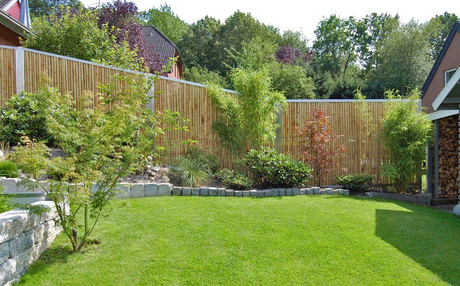 Bambuszaun mit Edelsstahl als Sichtschutz im Garten Ideen rund ums