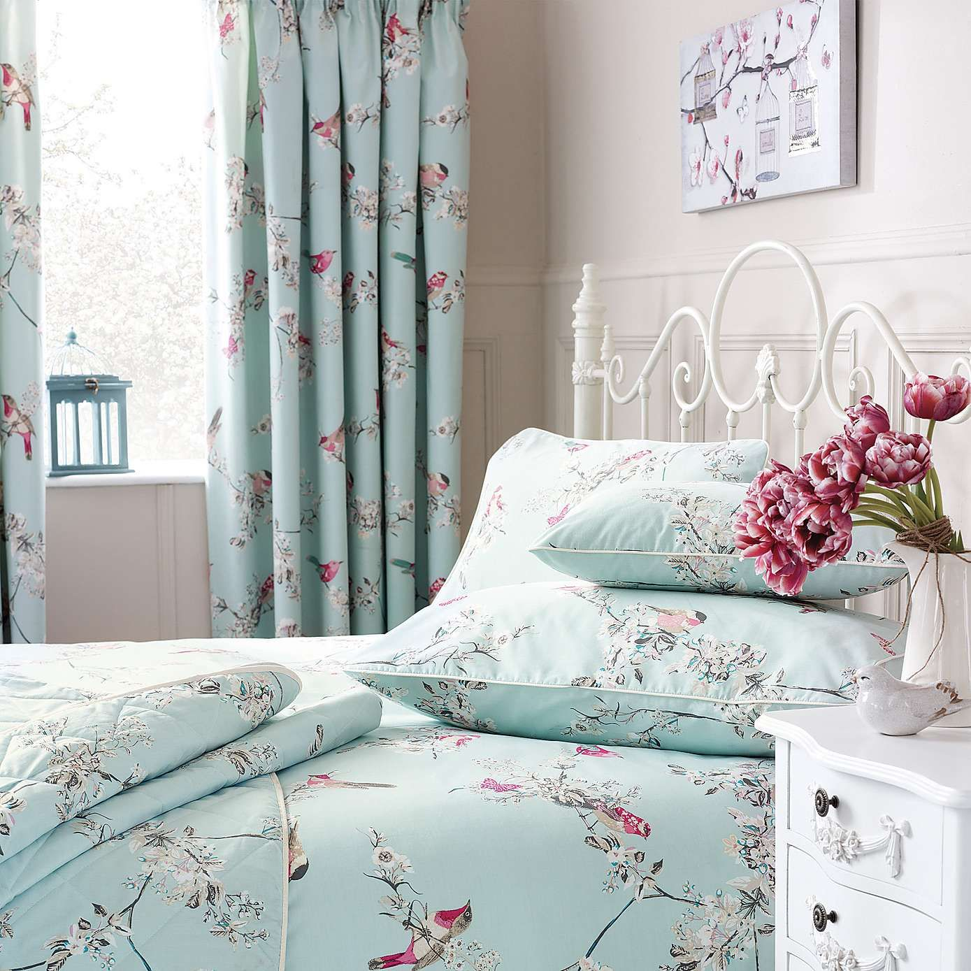 Beautiful Birds DuckEgg Thermal Pencil Pleat Curtains