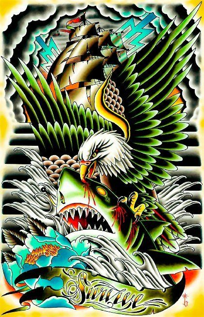 Survive by Tyler Bredeweg Eagle and Shark Nautical Tattoo Art Print – moodswingsonthenet