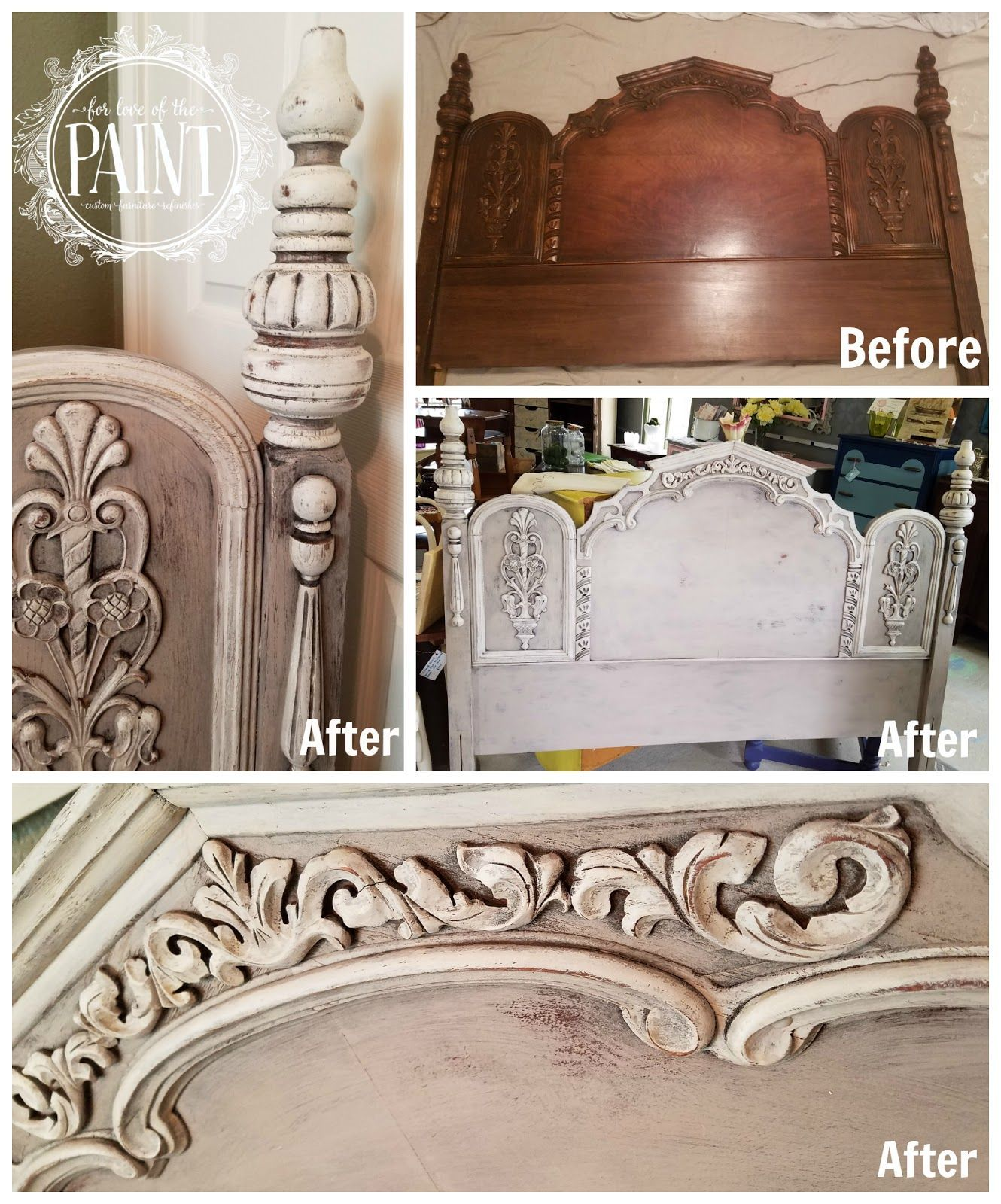 For love of the paint before and after ornate vintage headboard