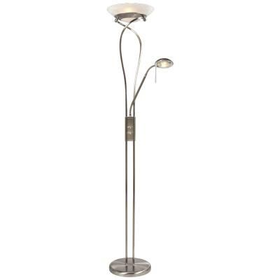 Hampton bay pewter floor lamp with adjustable reading for Floor lamp with reading light canada