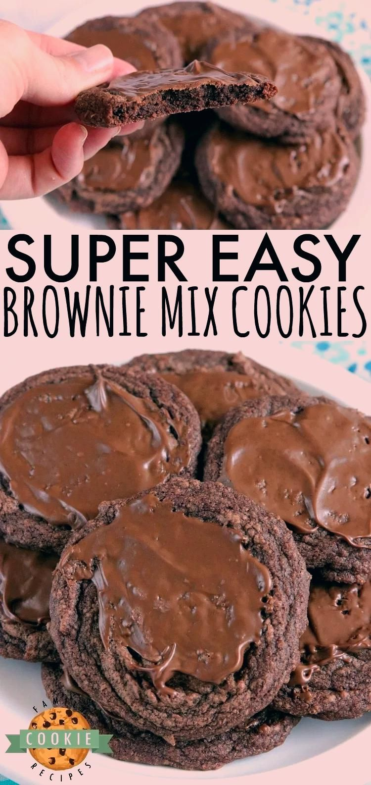 Easy Brownie Cookies are easily made with a brownie mix, butter and an egg and then frosted with a little bit of a melted Hershey bar. One of the easiest cookie recipes ever and they taste just like brownies…in cookie form! #cookies #chocolate #brownies #recipe #dessert #browniemix #yummy