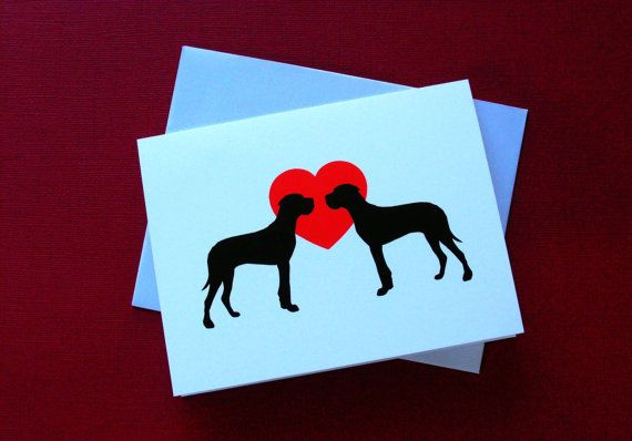 Great Dane Valentines Day Cards Pack of 4 or 12