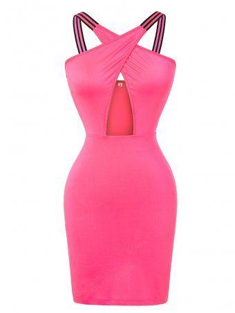 95ff874efb60 JurllyShe Crisscross Shoulder Wrap Hollow Out Waist Bodycon Dress ...