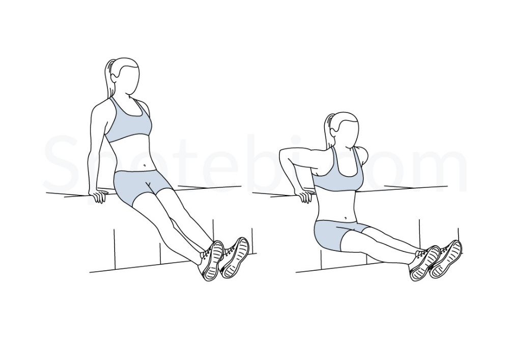 Tricep Dips Illustrated Exercise Guide In 2020 Workout Guide Shoulder And Arm Workout Tricep Dips