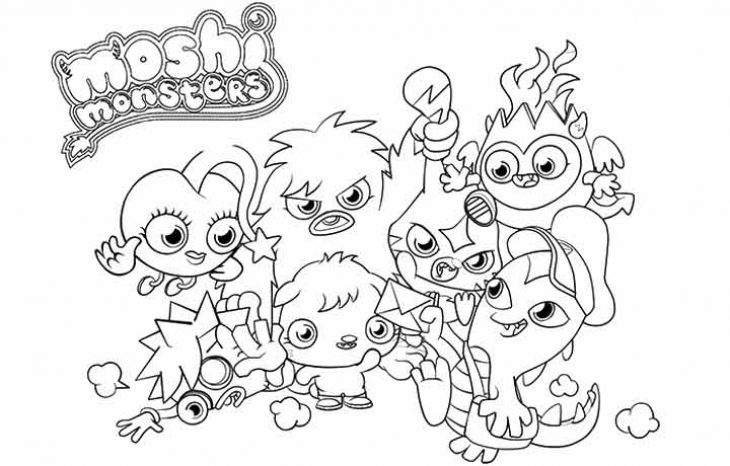 Kids Printable Moshi Monsters Cute Coloring Page