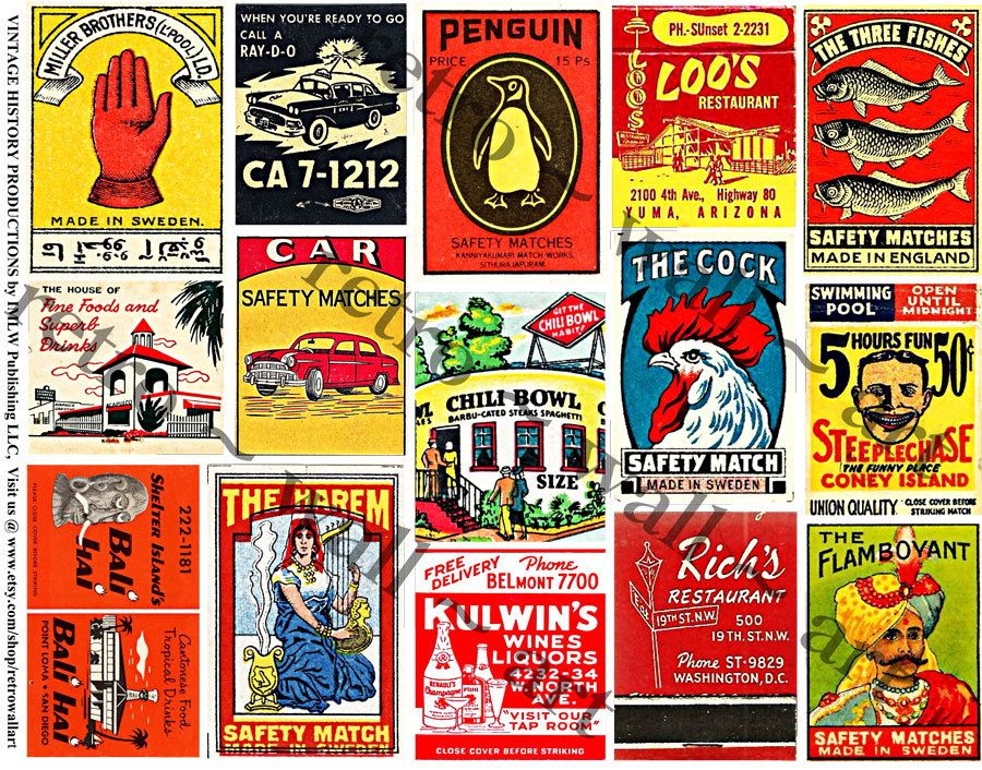 Matchbook Cover, STICKERS, Matchbook Clip Art, Rooster, Tavern, Vintage Inspired, Wood Match Box, Altered Art Supply, Collage Clip Art, 155a by retrowallart on Etsy