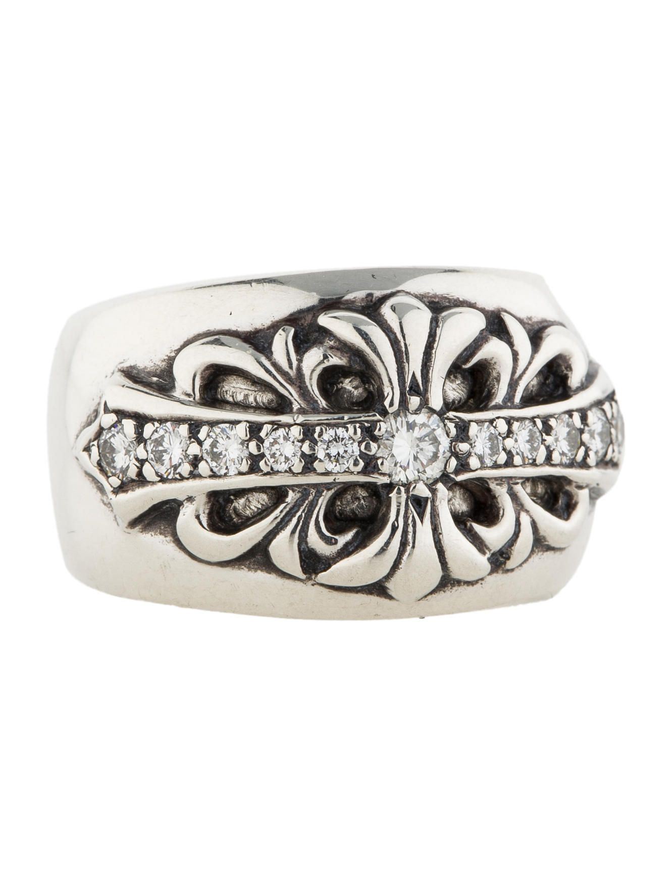 b855eb1cfb2 Sterling silver Chrome Hearts ring with diamond accents. Ring size 9.