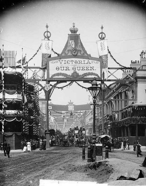 Queen Victoria celebrated her Golden Jubilee on the 20th of June, 1887. This photograph is of Regent Street in London decorated for the event.