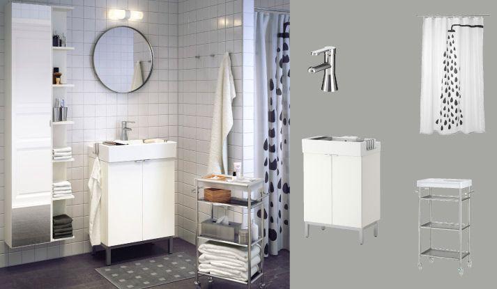 Ikea Badezimmermöbel ~ LillÅngen waschbeckenunterschrank weiss mit zwei türen und rÖrskÄr