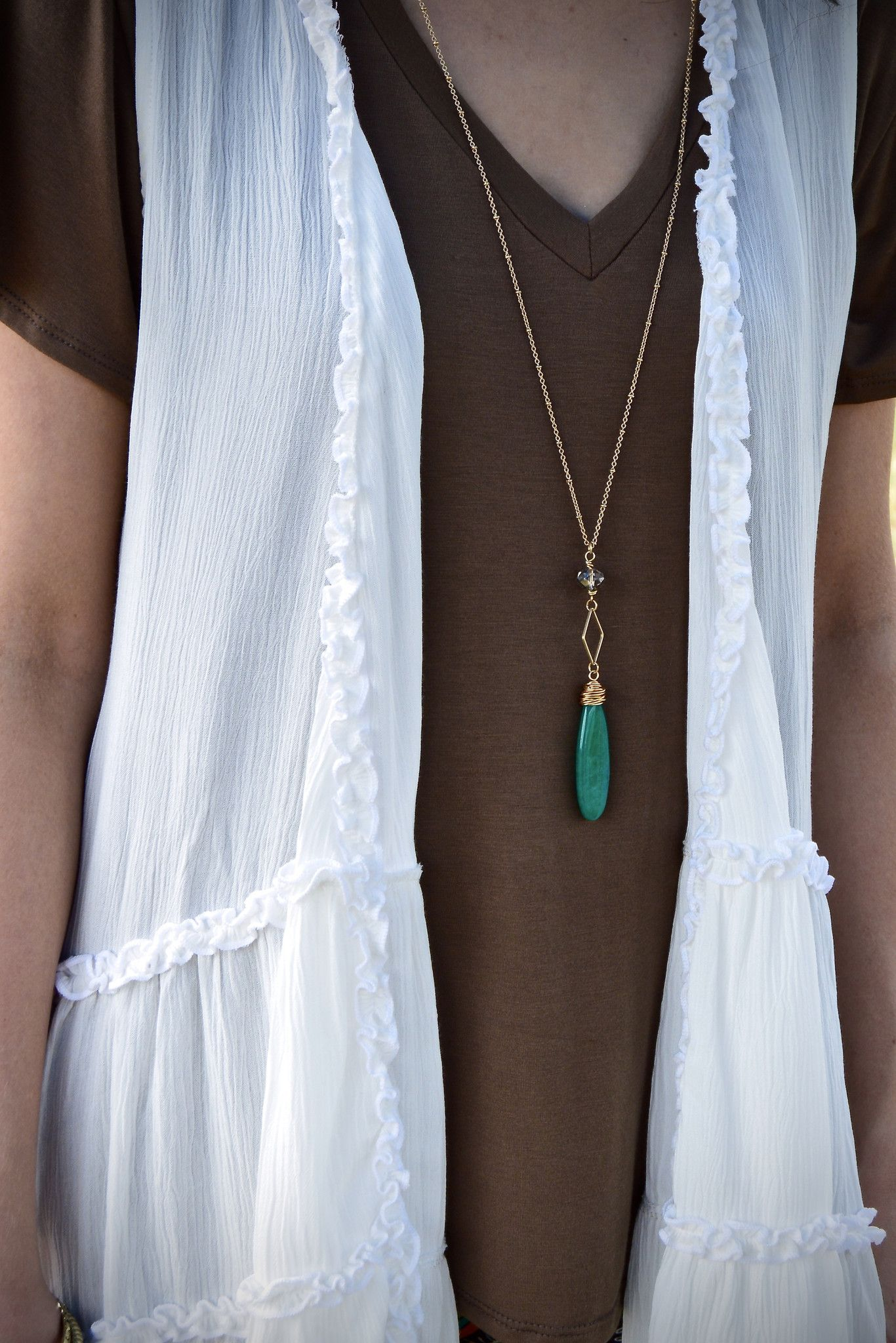 Teal Stone Pendant Necklace