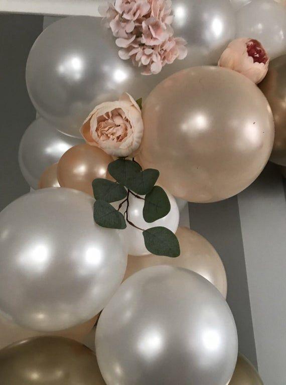 120 Stück DIY Ballon Girlande Kit, Gold, Champagner, Perl Weiß! Hochzeitsballongirlande