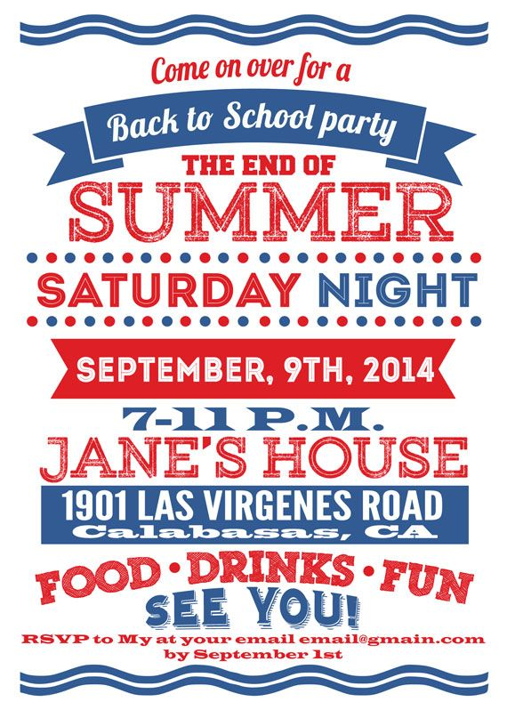 Back To School The End Of Summer Invitation Custom Wording Party Invitations 5x7 4x6 White Red And Blue Digital