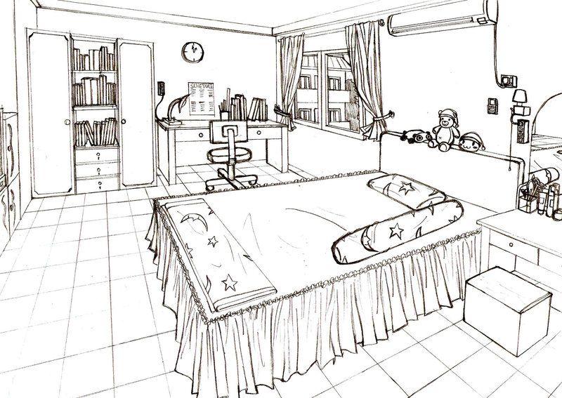 Черно белые картинки комнаты девочки подростка для распечатки