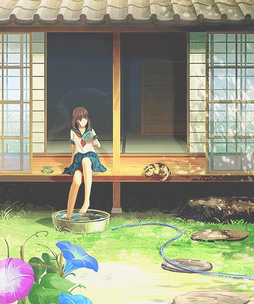 Summer Pemandangan anime, Ilustrasi, Animasi