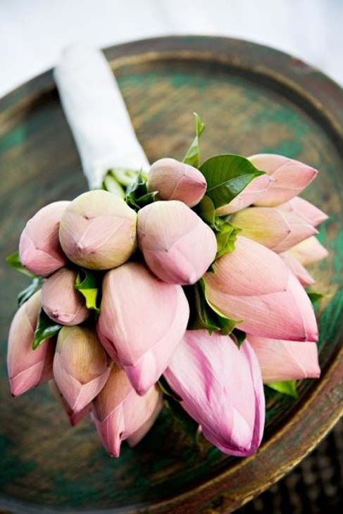 Wedding Bouquet Modern Pink Lotus Bouquet For Thailand Wedding