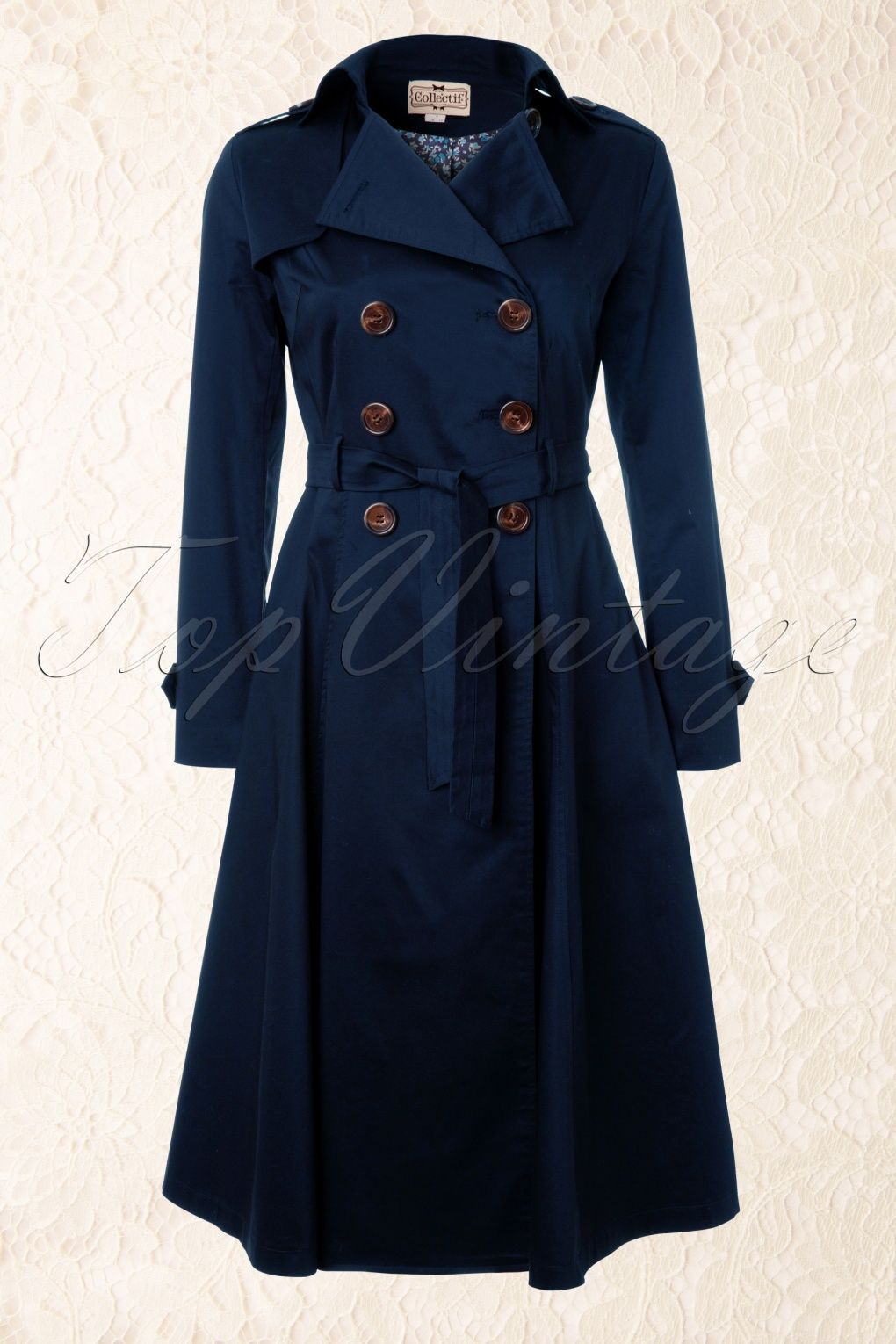 Collectif Clothing - Dietrich Swing Trench Coat in Navy