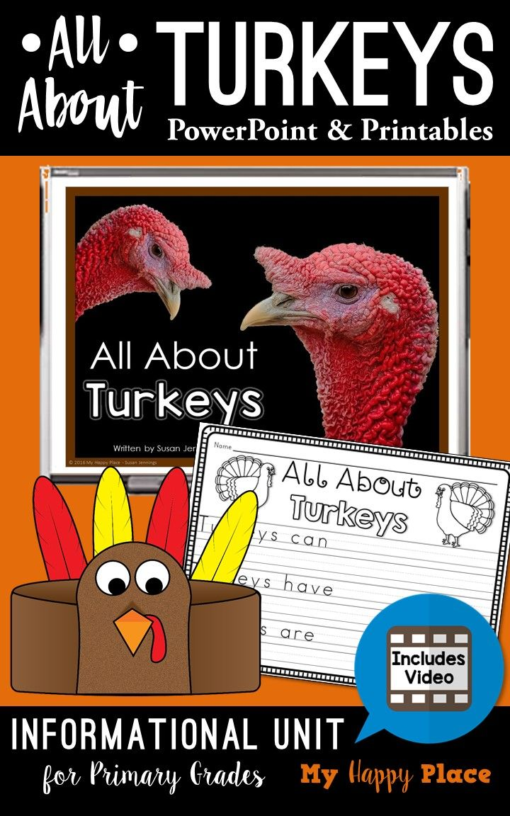 Turkeys Unit Informational PowerPoint, Video, and Printables