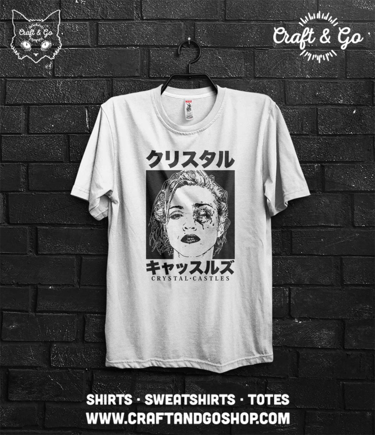 cca38b59 CRYSTAL CASTLES Japanese Shirt (alice glass ethan kath frail tumblr cult  band madonna bruised art rare yung lean japanese clothing) funny t shirts