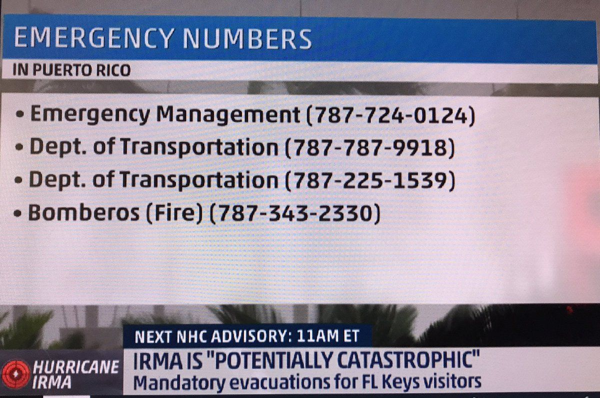 Emergency numbers to have on hand PuertoRico PR Irma