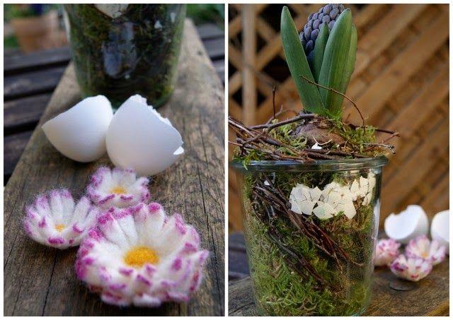 Ostergesteck mit Hyazinthe und gefilztem Gänseblümchen