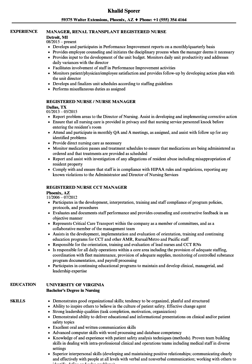Resume Examples Nurse Manager ResumeExamples Nursing