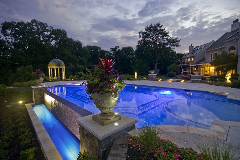 custom zero edge glass tile swimming pool with fiber optic lighting design ideas. beautiful ideas. Home Design Ideas