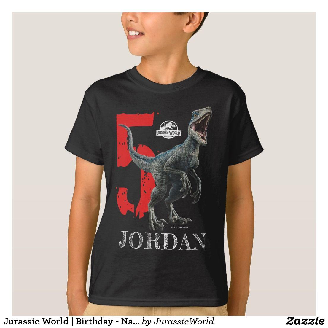 Jurassic World Birthday Name & Age TShirt Zazzle