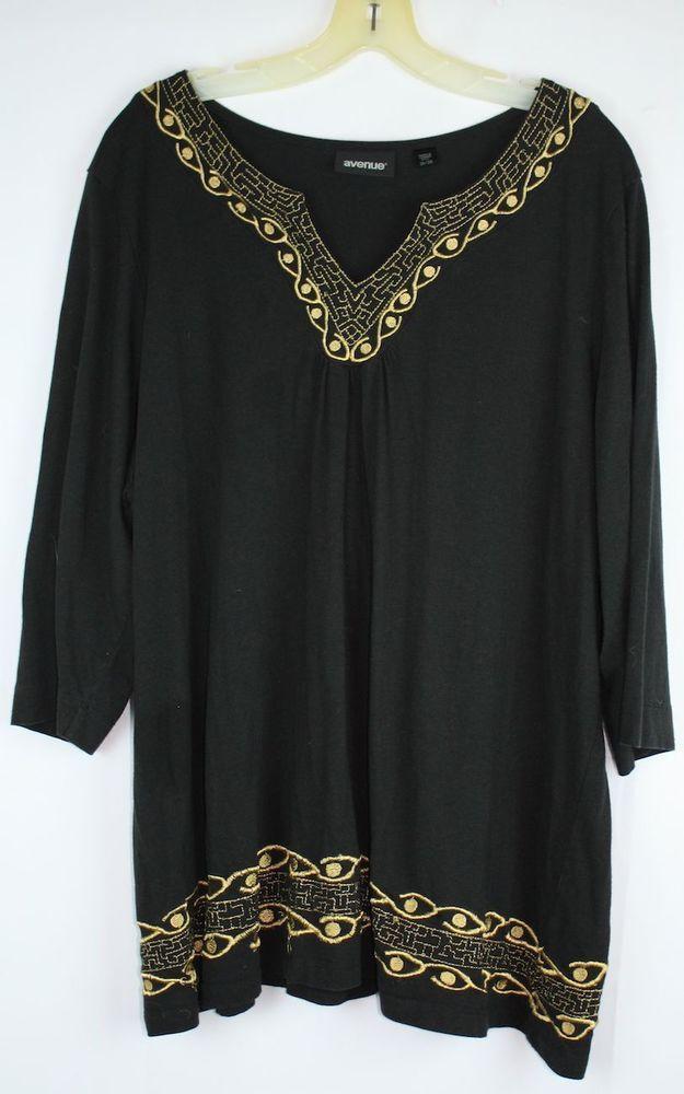 Avenue Women's Black Gold Trim V Neck 3/4 Sleeve Cotton Blen Knit Top Size 26 28 #Avenue #KnitTop #Versatile
