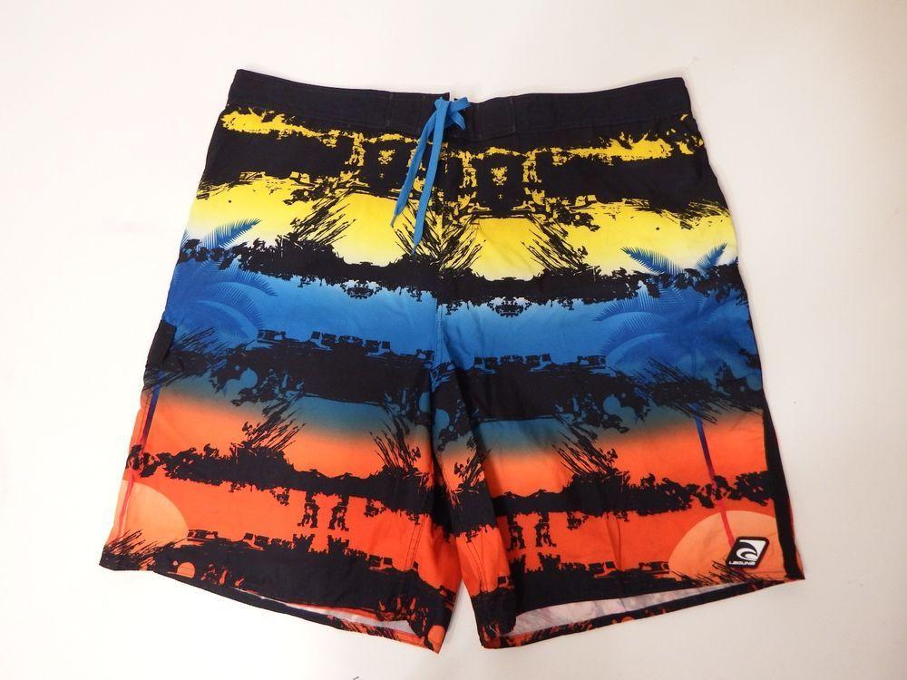 Men Swimwear Laguna Swim Trunks XX Large Draw String Tie Black Multi Elastic