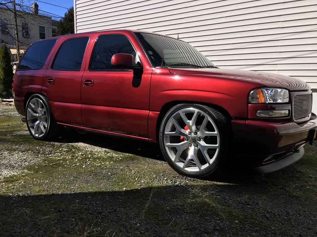 Tahoe Denali Suv Red Or Burgundy With Replica Wheels 24inch