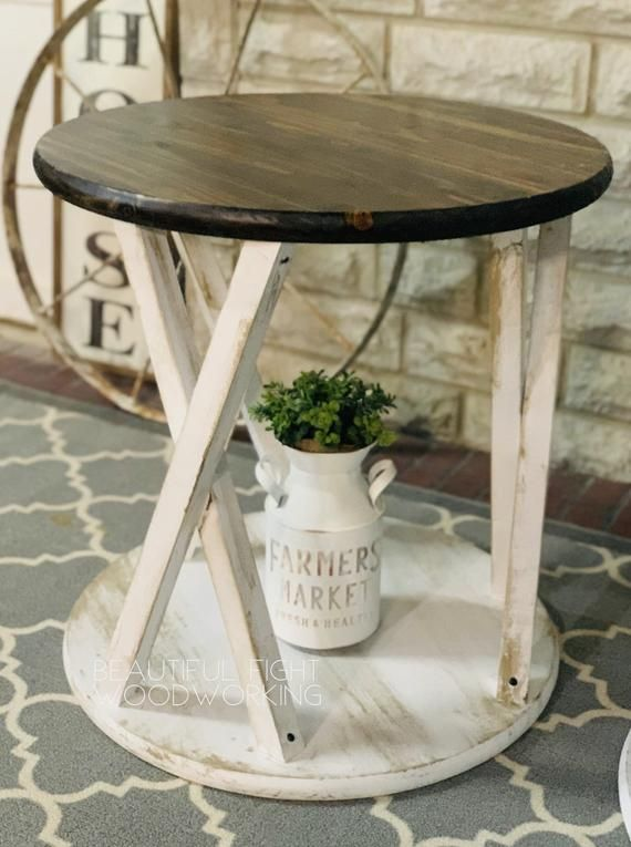 Farmhouse Round End Tables In 2020 Coffee Table Farmhouse Farmhouse End Tables Round End Tables