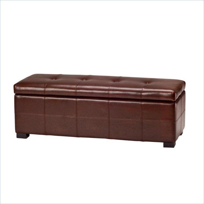 Safavieh Large Maiden Tufted Leather Storage Bench in Cordovan