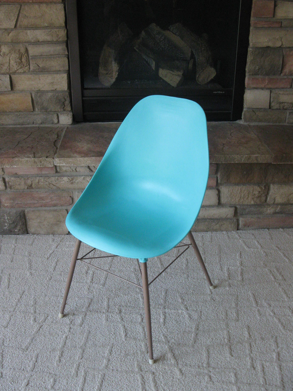 1960s TURQUOISE Aqua scoop chair mid century modern