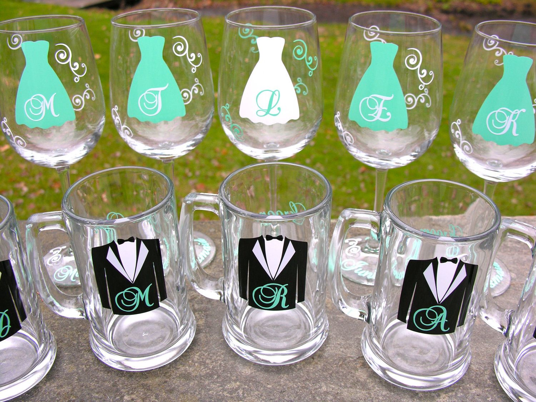 bridesmaid wine glasses and groomsmen beer mugs set of 8 tiffany