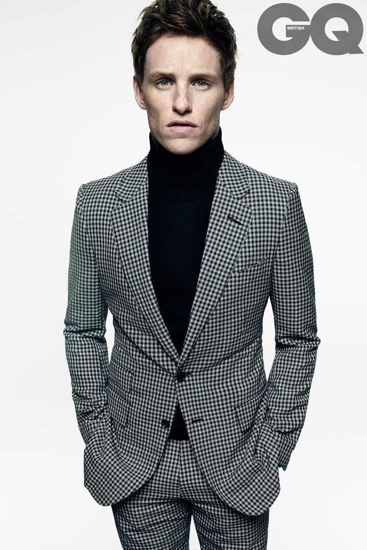 9baf7c86035b Eddie Redmayne rocks a plaid suit and turtleneck for British GQ