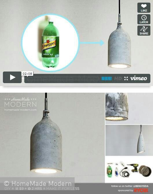 Nice Industrial diy lamp Lampe aus Beton selber machen