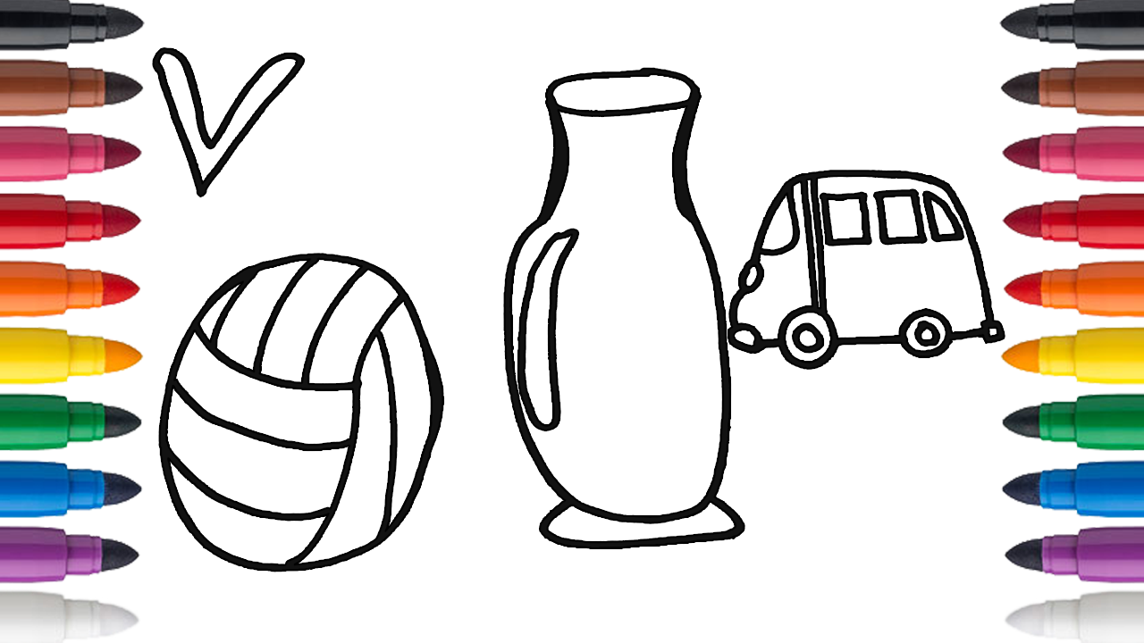 How To Draw And Color Letter V A Volleyball Vase And Van Drawing Letters Letter V Lettering