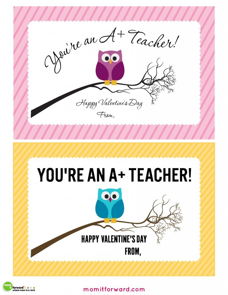 Teacher Valentines Day Cards Printable- Mom It Forward  Teacher