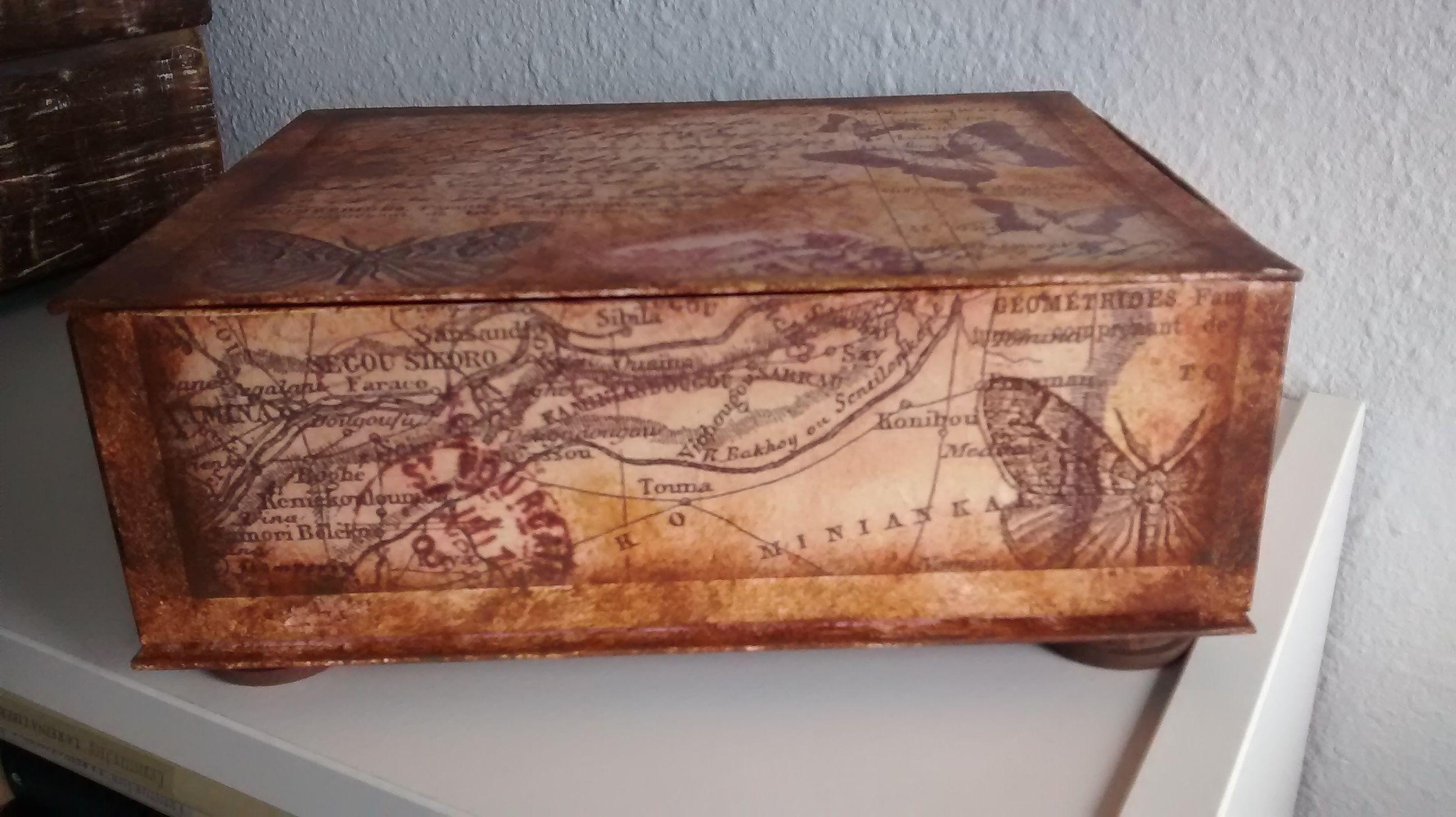 Caja De Cartón Decorada Con Decoupage Y Envejecida Cajas