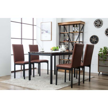 5pc Faux Marble Dining Set