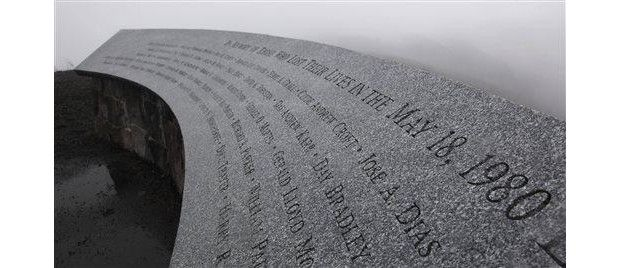 In this May 18, 2010 file photo, a memorial to those who lost their lives in the May 18, 1980 eruption of Mount St. Helens is shown near the Johnson Ridge Observatory at the Mount St. Helens National Volcanic Monument in Washington state. May 18, 2015 is the 35th anniversary of the eruption.