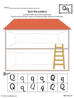 sort the uppercase and lowercase letter q worksheet color education letter q worksheets. Black Bedroom Furniture Sets. Home Design Ideas
