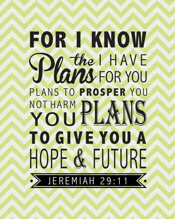 Jeremiah 29:11 Bible Verse Inspirational Quote - Canvas Wall Decor ...