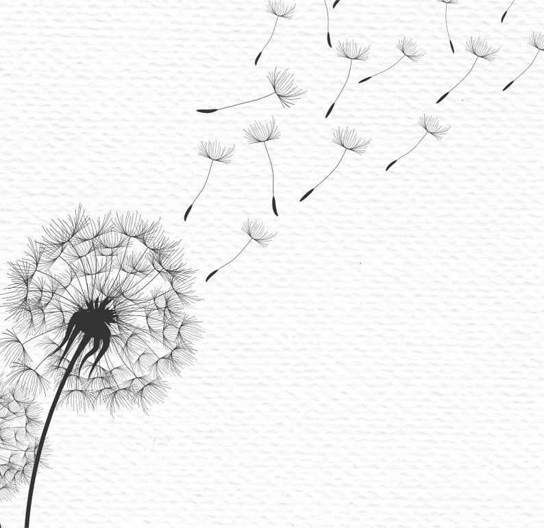 Wedding Card Print Wall Art Wedding Print Black And White Minimalist Poster Style Botanical Art Nature Print Woodland Monochrome Art Minimal In 2020 Monochrome Art Dandelion Tattoo Design Dandelion Drawing