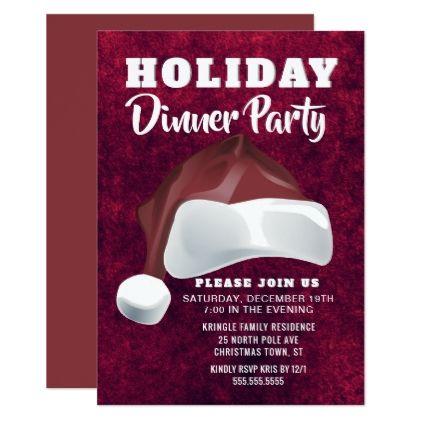 Red Velvet Santa Holiday Dinner Party Invitation Dinner party