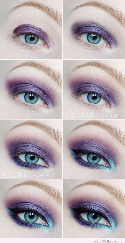 Makeup Tutorials For Brown Eyes: Purple And Blue Eye Makeup Tutorial