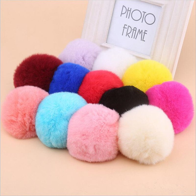 37cb3ec9516b 6cm Fluffy Rabbit Fur Pom Pom Ball Keychain Women Trinket Bag Phone ...
